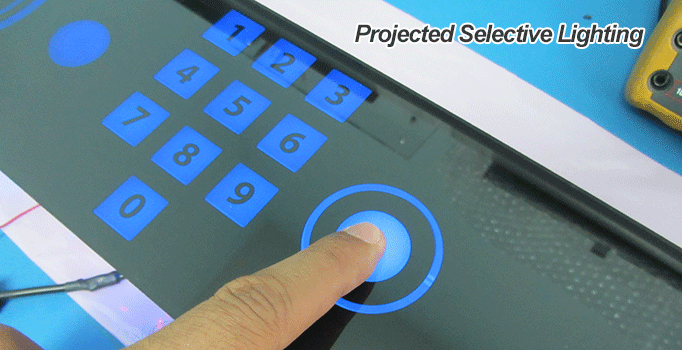 projected selective lighting kiosk