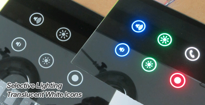 rgb leds translucent white button icons